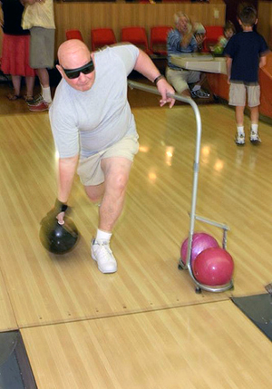 bowling with guide rails