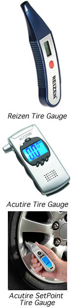 this is an image of Reizen Talking Digital Tire Gauge, Accutire Talking Digital Tire Gauge, Accutire Digital SetPoint Programmable Tire Gauge and a mounted magnifier