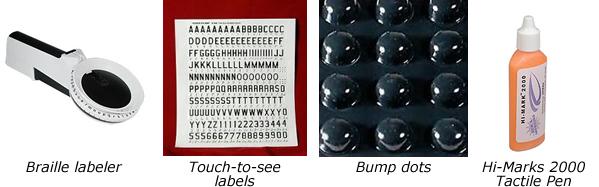 a braille labeler, bump dots, tactile pen
