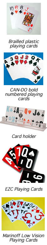 This is an image of a cardholder, and Brailled, CAN-DO bold, EZC and Marinoff Low Vision playing cards