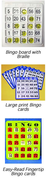 images of bingo board with braille, large print bingo cards, and Easy-Read Fingertips Bingo Cards