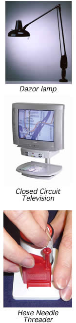 This is an image of a Dazor lamp, closed circuit television and Hexe needle threader