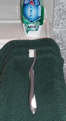 Toothbrush on contrasting washcloth