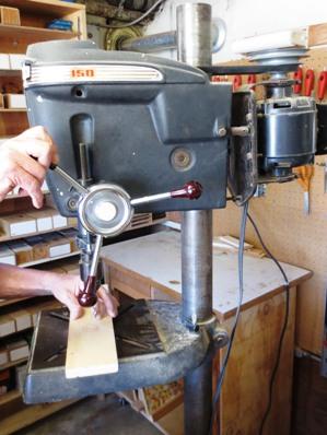 Drill Press in use