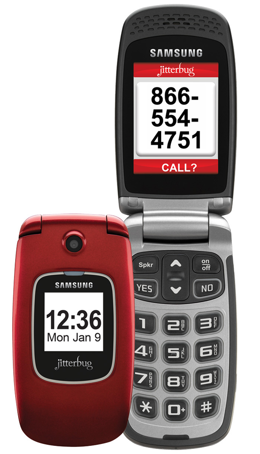The Samsung Jitterbug; one closed in red, a second one in silver with the flip top open