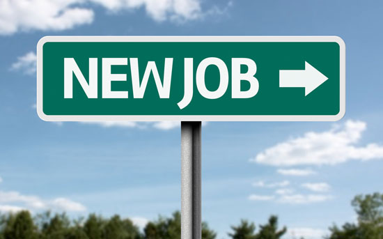 Street sign with the text 'New Job' and an arrow.