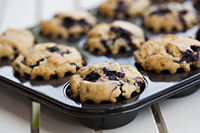 pan of blueberry muffins