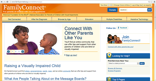 screen capture showing FamilyConnect home page