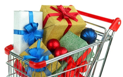 A shopping cart full of winter holiday decorations