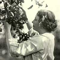 Helen Keller as a young woman, touching the branch of a flowering tree