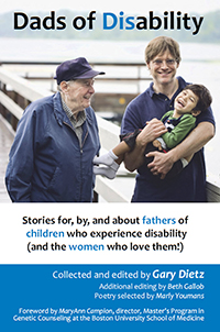 link to dadsofdisability.com: book cover showing a dad holding his smiling son, with a grandfather looking on kindly