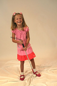 little girl with white cane (not Elizabeth)