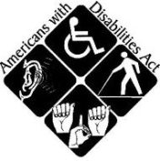 The ADA logo: Americans with Disabilities Act, four squares with symbols for hearing, wheelchair, blind pedestrian, and sign language