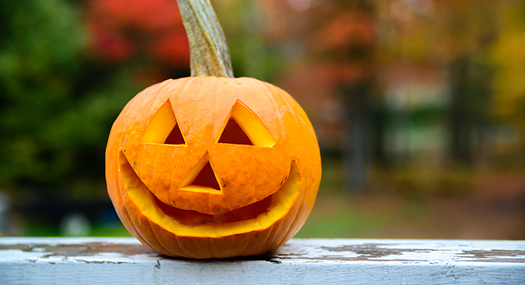 classic jack-o-lantern with triangle eyes and nose, and wide smile