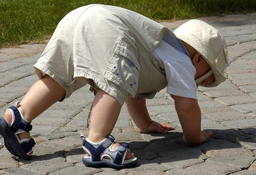 baby crawling along a stone path