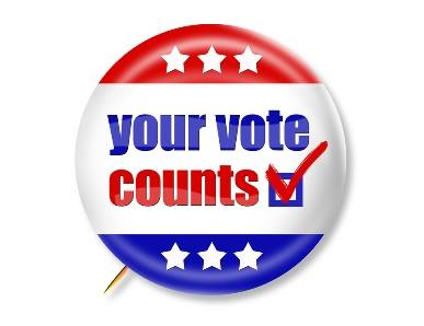 red, white and blue button with words: your vote counts