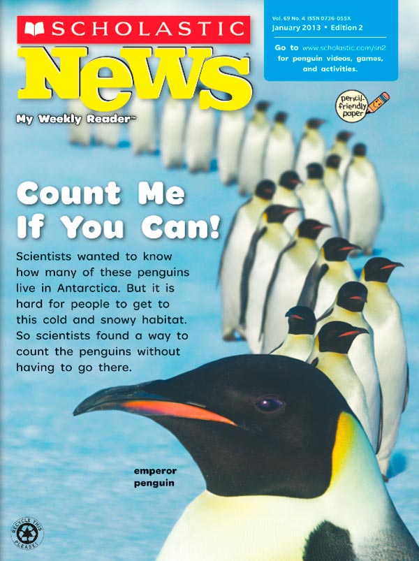 sample cover of Scholastic News Magazine, featuring penguins