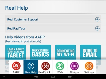 screen shot of realpad help buttons and videos