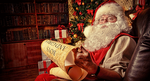 Santa Claus checking his list
