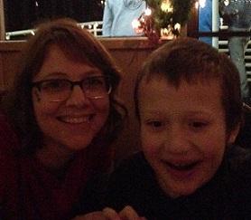 Eddie and Emily smiling on the Santa Cruise