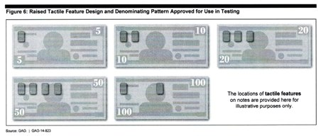 Raised tactile features proposed for currency redesign