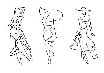 free-hand drawings of women models