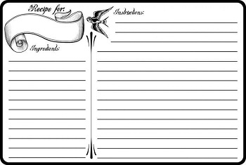 recipe card with lines and place for ingredients and instructions