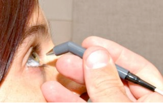 Measuring corneal thickness with a pachymeter. Source: Accutome