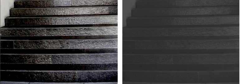 Stairs with high contrast (L) and stairs with low contrast (R). Source: Author.