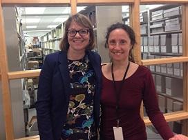 Emily and Archivist, Helen, at Helen Keller Archives