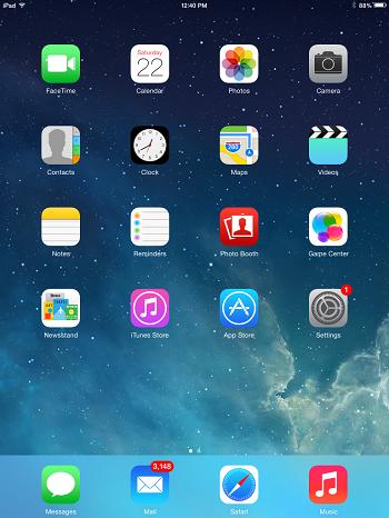 ipad screen with safari at bottom of screen