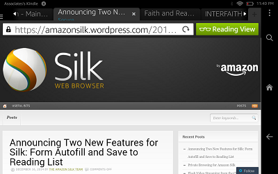 screen shot of silk browser reading view upper right corner