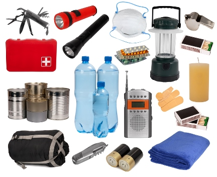 picture containing items for emergency kit such as knife with can-opener, flashlight, lantern, candle, blanket, batteries, canned goods, bandaids, first aid kit