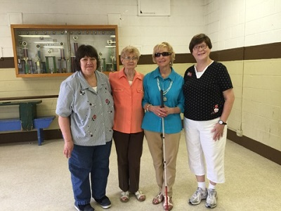 key volunteers of Sights Unlimited support group left to right: Donna Draeger, Lorraine Real-Secretary, Carol Lampe-President, Joan Juris-Treasurer