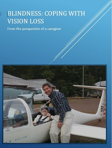 Book cover for Blindness: Coping with Vision Loss showing authors and mother sitting in glider plane