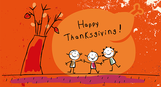 doodle of children smiling, holding hands, saying Happy Thanksgiving