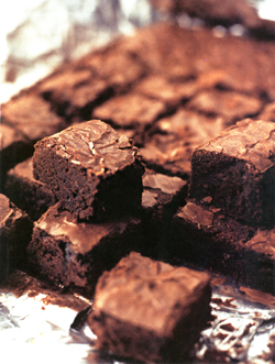 closeup of delicious, moist-looking brownies
