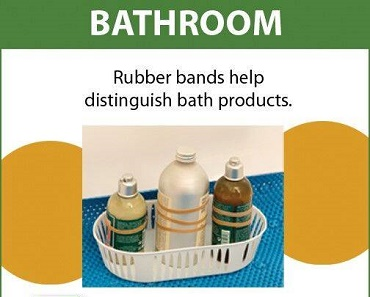 using rubber bands to distinguish shampoo from conditioner