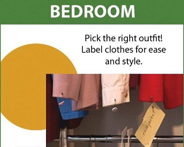 using colored tags and large print tags to label clothes in closet