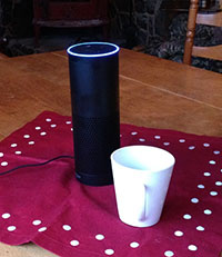 echo device pictured next to white coffee cup. The echo is round and approximately 3 times taller than the cup and about the same girth as the cup