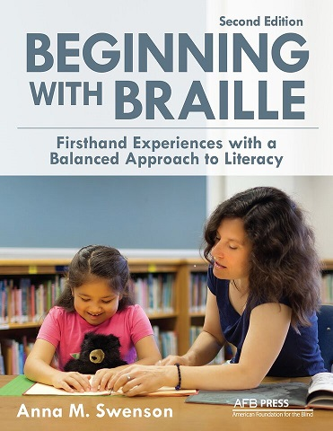 cover of book showing teacher teaching braille to student