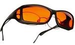 absorptive lenses in amber fit over regular eyeglasses