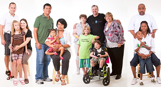 portrait of several families with children who are blind or visually impaired