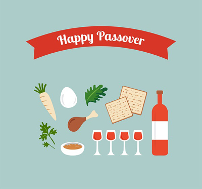 Graphic Happy Passover with various food and wine