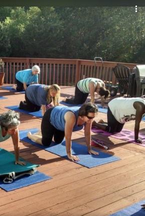 group taking yoga poolside