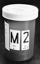 medication label on a prescription container