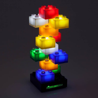 A stack of different colored Light Stax blocks