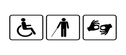 Three disability symbols representing the Americans with Disabilities Act