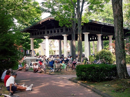 Chautauqua Hall of Philosophy with people sitting outside credit Federal Highway Administration