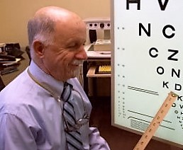Doctor conducting low vision exam